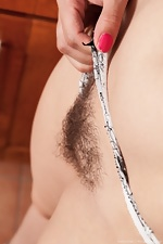 Kicthen masturbation for hairy girl Jessica Patt from We Are Hairy